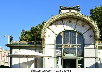 VIENNA, AUSTRIA - SEPTEMBER 18, 2018: Detail of Otto Wagner Pavillion at Karlsplatz. It is a former train station, designed by the famous Austrian architect Otto Wagner, completed in 1898.