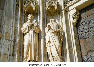 VIENNA, AUSTRIA - SEPTEMBER 2; Stone carvings and details including one now headless on exterior of church known as Votive Church Neo Gothic church and museum in September 2 2017 Vienna, Austria.