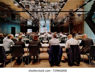 Vienna, Austria, September 2017: business conference in Melia Hotel, DC Tower, large conference room