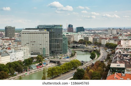 Vienna, Austria, September 2018: aerial panorama over the city center of Vienna, at Schwedenplatz area