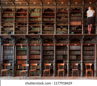 Vienna, Austria, September 2018: library and reading room of College of Physicians in Vienna, in the House Billroth (in German Billrothhaus) with a young woman among the vintage bookshelves