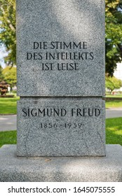 Vienna, Austria - September, 2019: Sigmund Freund memorial stone in the park named after him. The inscription quotes: The voice of the intellect is quiet.