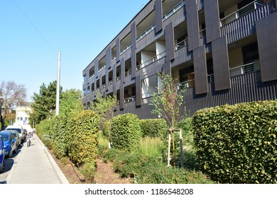 VIENNA, AUSTRIA - SEPTEMBER 21, 2018: Pflegewohnhaus Liesing (or Helmut-Zilk-Haus), a modern nursing home in the 23rd district (Liesing) of Vienna