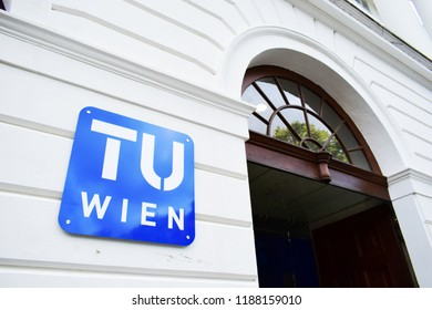 "VIENNA, AUSTRIA - SEPTEMBER 25, 2018: Logo of Technische Universität Wien, shortly TU Wien (Eng. ""Vienna University of Technology"") at the entrance of its main building of  at Karlsplatz, Vienna"