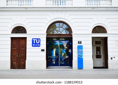 "VIENNA, AUSTRIA - SEPTEMBER 25, 2018: Entrance of the main building of Technische Universität Wien, shortly TU Wien (Eng. ""Vienna University of Technology"") at Karlsplatz, Vienna"