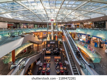 Vienna, Austria - September 26 2018: Interior of the Gasometer Buildings in Vienna, Austria are former natural gas storage facilities that were converted into shopping mall.