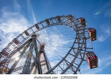 VIENNA, AUSTRIA, SEPTEMBER 26,2018: Prater famous wheel
