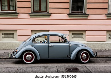 VIENNA, AUSTRIA - SEPTEMBER 28, 2016: Early 60s VW Beetle, or informally the VW Bug, parked in a street.