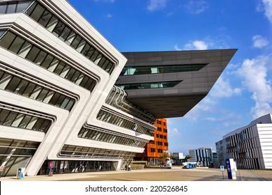 VIENNA, AUSTRIA, SEPTEMBER 29, 2014: Vienna University of Economics and Business. Futuristic architecture designed by architect Zaha Hadid. Exterior detail.
