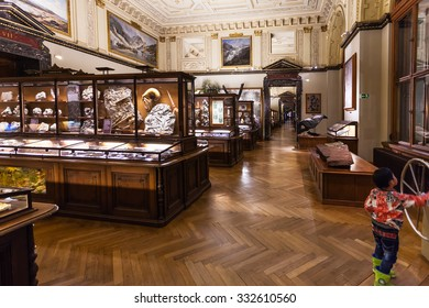 VIENNA, AUSTRIA - SEPTEMBER 30, 2015: visitor in halls of Naturhistorisches museum, Vienna.The Museum ( NHMW) is a large natural history museum, it was opened in 1891 by Emperor Franz Joseph