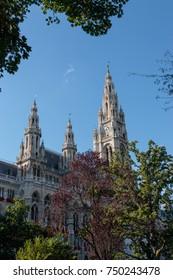 VIENNA, AUSTRIA - September 5, 2017: Vienna City Hall or Rathaus showing the clock tower.