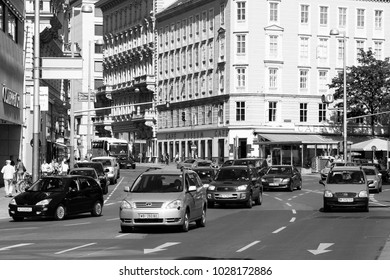 VIENNA, AUSTRIA - SEPTEMBER 6, 2011: Car traffic in Vienna. Each year traveling around Vienna by car is becoming safer with dropping accident numbers (2007: 5184 accidents, 2010: 4449 accidents).