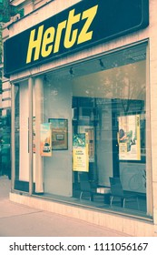 VIENNA, AUSTRIA - SEPTEMBER 7, 2011: Hertz car rental in Vienna. Hertz exists since 1918 and rents cars in 146 countries worldwide. Its global fleet is about 550 thousand cars (2012).