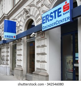 VIENNA, AUSTRIA - SEPTEMBER 7, 2011: Erste Bank branch in Vienna. The group founded in 1812 currently employs 50,272 people (end 2010) and posted $3.988 billion EUR operating income for 2010.