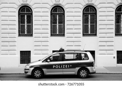 VIENNA, AUSTRIA - SEPTEMBER 7, 2011: Austrian Federal Police car in Vienna. In 2005 two major police forces in Austria - Gendarmerie and Polizei joined together to form Bundespolizei (Federal Police).