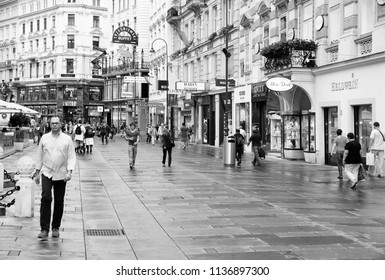 VIENNA, AUSTRIA - SEPTEMBER 8, 2011: People walk along Graben street in Vienna. As of 2008, Vienna was the 20th most visited city worldwide (by international visitors).