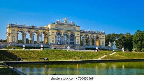 VIENNA, AUSTRIA - SEPTEMBER 8, 2017. Famous Schonbrunn Palace in Vienna, Austria.