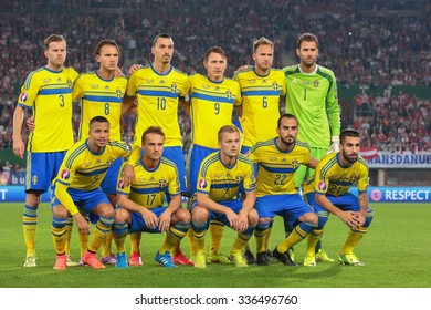 VIENNA, AUSTRIA - SEPTEMBER 9, 2014: The team of Sweden poses before an European Championship qualifying game.