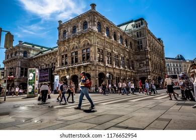 Vienna, Austria-06.19.2018: Vienna Opera house, urban life in Vienna