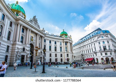 Vienna, Austria-06.24.2018:  Famous Hofburg Palace with Heldenplatz in Wien, austrian capital city.