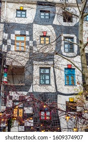 Vienna\ Austria-Dec 9, 2019 Hundertwasser Museum (Kunst Haus Wien). The museum was built in a traditional manner, but decorated with enamelled, checkerboard mosaics on the facade and adjacent sections