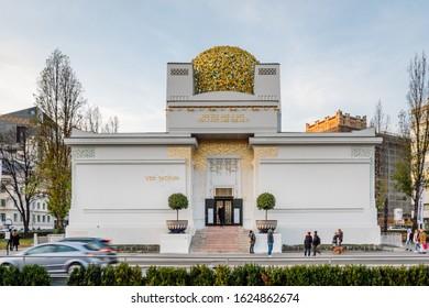 Vienna\ Austria-Dec 9, 2019 Vienna Secession Building  with text Der Zeit Ihre Kunst, Der Kunst Ihre Freiheit meaning To the age its art, To art its freedom.