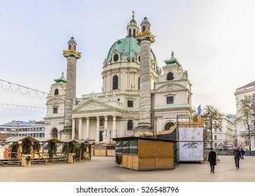 VIENNA, AUSTRIA-NOVEMBER 30, 2016: St. Charles's Church in Vienna