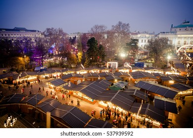 Vienna Christmas Market 2016, aerial view at blue hour (sunset). Wien, Austria, Europe.