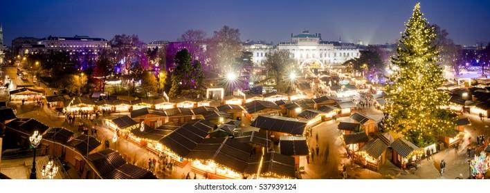 Vienna Christmas Market Panorama