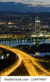 Vienna city and Danube river at night, Austria