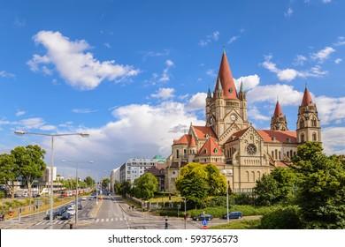 Vienna city skyline at Saint Francis of Assisi Church, Vienna, Austria