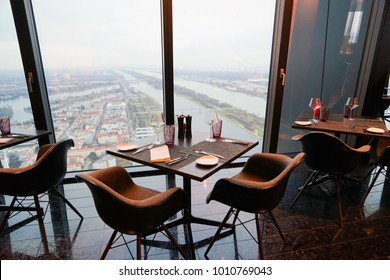 Vienna Donau City, Austria - 20 December 2017 - 57 Restaurant & Lounge, part of Melia Hotel Vienna on the top floor of the new DC Towers