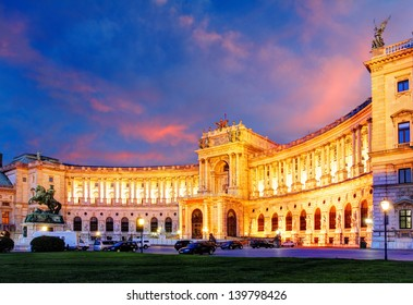 Vienna Hofburg Imperial Palace at night - Austria