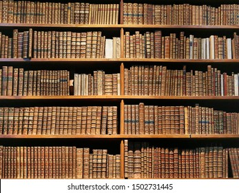 Vienna - January 25 2015: old books on wooden shelf in the national library of Vienna, 25 January 2015, Vienna, Austria