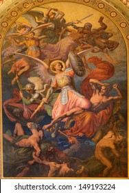 VIENNA - JULY 27: Archangel Michael and war with the bad angels  scene by Leopold Kupelwieser from 1860 in nave of Altlerchenfelder church on July 27, 2013 Vienna.