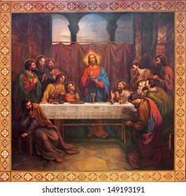 VIENNA - JULY 27: Fresco of Last supper of Christ by Leopold Kupelwieser from 1889 in nave of Altlerchenfelder church on July 27, 2013 Vienna.