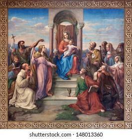"""VIENNA - JULY 27:  Fresco of """"Madonna of Vienna""""  by Leopold Kupelwieser from 1858 in nave of Altlerchenfelder church on July 27, 2013 Vienna."""