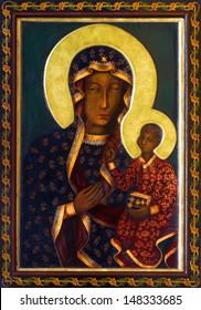VIENNA - JULY 27: Icon of black Madonna from side altar of Altlerchenfelder church from 19. cent. on July 27, 2013 Vienna.