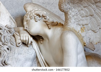 VIENNA - JULY 3: Detail of angel from tomb of Marie Christine daughter of Maria Theresia from years 1798 - 1805 by Antonio Canova in Augustnierkirche or Augustinus chuch on July 3, 2013 Vienna.