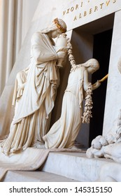VIENNA - JULY 3: Detail of tomb of Marie Christine daughter of Maria Theresia from years 1798 - 1805 by Antonio Canova in Augustnierkirche or Augustinus chuch on July 3, 2013 Vienna.