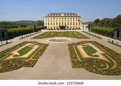 Vienna - Juni 04: monumental castle Schoenbrunn with the royal garden on Juni 04, 2014, in Vienna ,Austria