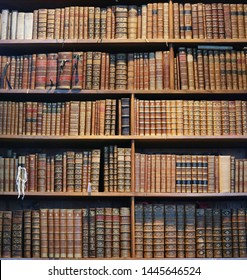 Vienna - March 10 2016: old books on wooden shelf in the national library of Vienna, 10 March 2016, Vienna, Austria
