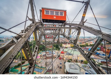 VIENNA, AT - MAY 24, 2015: The Wiener Riesenrad (Vienna Giant Wheel), or Riesenrad, at the entrance of the Prater amusement park in Leopoldstadt, the 2nd district of Austria's capital Vienna.