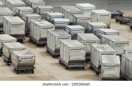 VIENNA, MAY 5, 2019: Jettainer unit load devices at the Vienna Airport. Jettainer GmbH is a wholly owned subsidiary of Lufthansa Cargo AG.