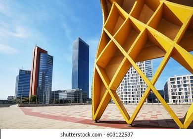 Vienna modern architecture in the UNO city complex, Austria.
