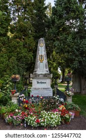 Vienna, Oct 01, 2017 - Central Cemetery, The Grave of Ludwig Van Beethoven.