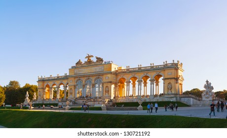 VIENNA - OCTOBER 06: Gloriette Schonbrunn at sunset on October 06, 2012 in Vienna. It's the largest and most well-known gloriette in Vienna built in 1775 according to the plans of architect Hetzendorf