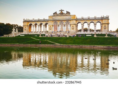 VIENNA - OCTOBER 19: Gloriette Schonbrunn at sunset on October 19, 2014 in Vienna. It's the largest gloriette in Vienna built in 1775 as the last building constructed in the Schonbrunn garden.