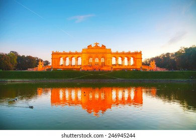 VIENNA - OCTOBER 19: Gloriette Schonbrunn at sunset on October 19, 2014 in Vienna. It's the largest gloriette in Vienna built in 1775 as the last building constructed in the Schonbrunn garden.