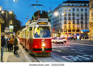 VIENNA - OCTOBER 20: Old fashioned tram on October 20, 2014 in Vienna, Austria. Vienna has an extensive train and bus network.